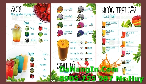Thiết kế in ấn menu quán nhậu cafe nhà hàng resort giá rẻ